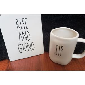 NWT Rae Dunn Coffee Cup and Sign